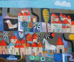 My Town by Nathaniel Mather, New Orleans artist. In Mixed Media on canvas. A whimsical, folk art feel.