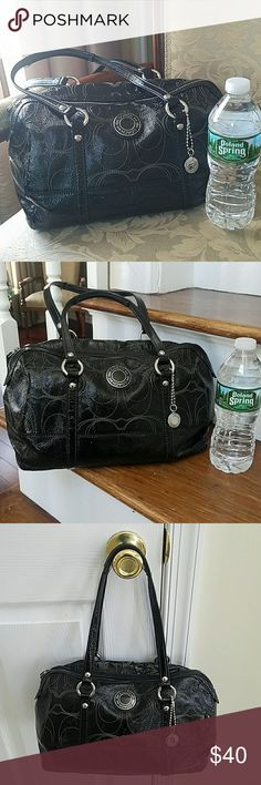 Coach Patent Leather Satchel, used. Coach Patent Leather Satchel, good used condition. Clean, some wear on bottom and on handles. Beautiful in person. 8th pic, its not scratches, it was something that got stuck on it, was not able to remove without damaging bag. Sold as is, ask questions. Coach Bags Satchels