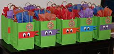 These ninja turtle bandana goody bags will add fun and whimsy to your party! Best of all, they are ready-made so all you have to do is add the goodies! This order is for READY-MADE goody bags measuring 8 1/8H, 5 1/4W, and 3 1/4D with handles (handles not included in measuring bags).