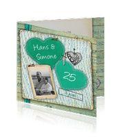 jubileum-kaart-25-jarig-hartjes-groen: 25 jaar getrouwd? Het zilveren huwelijk is een erg mooie gelegenheid om te vieren samen met familie en vrienden.