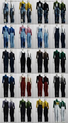 Lana CC Finds - Sims 4. Overalls Jumpsuit for F (20 color) by...
