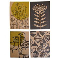 Set of 4 postcards - Undergrowth, Protea, Eep & Baubles. $6.50, via Etsy.
