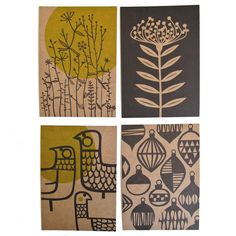 Set of 4 postcards - Undergrowth, Protea, Eep & Baubles. $6.50, via Etsy.