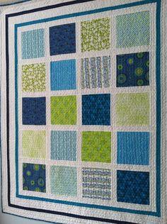 Aqua and Greens Modern Squares. straight line quilting