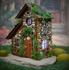 Fairy House with Solar Lights/ Fairy Cottage/ by TheHealersGarden