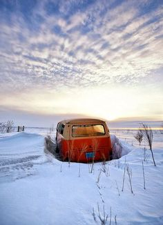 VW bus in the snow