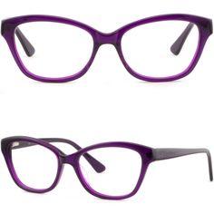 Women's Cat Eye Cateye Acetate Frames Spring Hinges Prescription Glasses Purple #Unbranded
