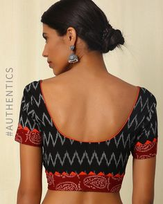 Buy Black Indie Picks Handwoven Ikat Hand Embroidered Cotton Blouse