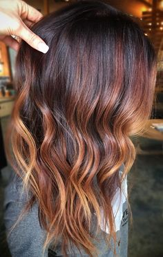 Trendy Fall and Winter Hair Color Ideas winter hair color ideas, brown hair colors , hair colors blonde hair colors. Red Balayage Hair, Balayage Hair Caramel, Auburn Balayage, Brown Blonde Hair, Brunette Hair, Ombre Hair, Dark Blonde, Copper Balayage Brunette, Balayage Color