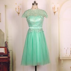 Custom 2016 Cheap Cap Sleeves Short Lace Turquoise Prom Dresses Gown,Formal Evening Dresses, Graduation Homecoming Party Dresses, Bridesmaid Dresses