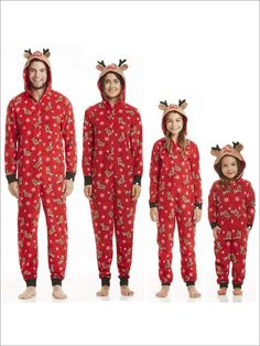 b7c1fec4de Family Christmas Holiday Reindeer Onesie Pajamas