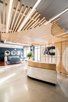 Inside Allport Cargo Services' Cape Town Office - Officelovin' Source by rosannapappalar wood wo Office Ceiling Design, Office Interior Design, Office Interiors, Office Space Design, Lobby Interior, Office Designs, Office Spaces, Modern Interior, Workplace Design