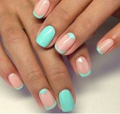 Green and pale pink nails