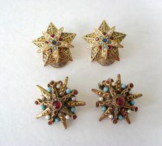 gold art deco clip earrings vintage