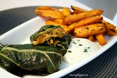 pok choy roulade with sweet potatoe fries and sour cream #vegan