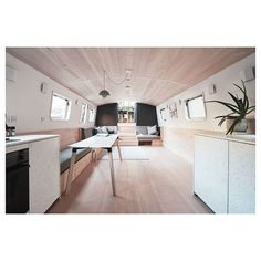 For sale: This stunning one bedroom modern houseboat has been designed by Architects who have created a space that is luxurious yet tranquil and calming. One Bedroom, Modern Bedroom, Small Space Living, Small Spaces, Boat Interior, Interior Ideas, Houseboat Living, Boat Stuff, Minimalist