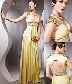 Sparkling V-neck golden dress