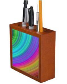 Rainbow Desk Organizers $30.90 *** Colorful curved stripes - desk organizer