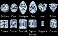 Diamond Cuts: Looking at lists like this really just emphasises that I like elongated shapes. Emerald and marquise most of all, but also oval, radiant and cushion cuts that are recognisably rectangular.