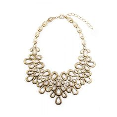 Flower Bouquet Vintage Gold Statement Necklace (445 MXN) ❤ liked on Polyvore featuring jewelry and necklaces