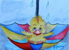 ACEO TW APR Original Watercolor Just Ducky Series#3 Umbrella Cartoon by R.Mackey #Miniature