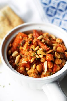 Chickpeas and Cauliflower Stew- Holy Land Inspired  - http://www.themediterraneandish.com/chickpea-stew-and-cauliflower-recipe/