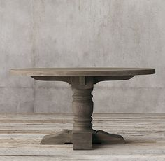 RH's 1930s French Farmhouse Round Dining Table:An antique American table from the last century inspired our grandly scaled reproduction, with baluster-style turned legs and low stretcher beams to support the planked top.