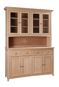 Shaker Buffet And Hutch Unfinished Solid Woods
