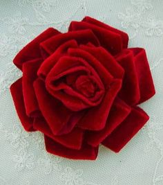 Velvet Ribbon Rose Fabric Flower 4 inch Red Hat Christmas Corsage Pin Baby Pageant Bridal Hair Accessory Applique. $4.99, via Etsy.