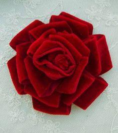 Velvet Ribbon Rose Fabric Flower made by  Pamela from delightfuldesigner