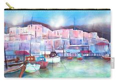 Greek Island Paros Naoussa Harbor Carry-All Pouch by Sabina Von Arx. Paros, Coastal Bathroom Decor, Greece Art, Relaxing Holidays, Canvas Prints, Art Prints, Greek Islands, Beautiful Artwork, Colorful Backgrounds