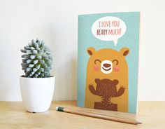 Printable Greeting Card I Love You Beary Much | Bear Card | Valentine Card | Mother's Day Card | Father's Day Card | INSTANT DOWNLOAD