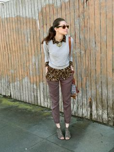 cheetah blouse with sweater