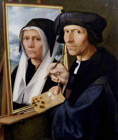 Jacob van Oostsanen Painting a Portrait of His Wife Dirck Jacobsz, 1550