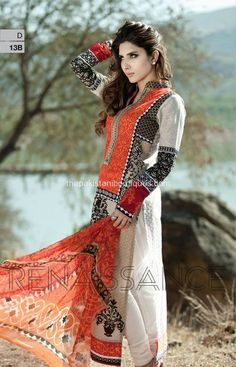 Maria B spring/summer Lawn collection 2014 (volume white black red. Patterned and embroidered. Indian Attire, Indian Ethnic Wear, Indian Style, Pakistani Outfits, Indian Outfits, Stylish Dresses, Casual Dresses, Cheap Dresses, Fashion Dresses