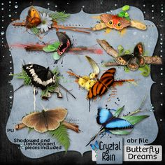 Jazz up a frame, or add to a Scrap LO or mixed media ATC or simply use the brushes on a background..    This beautiful set contains:    -8 butterfly and brushwork clusters in a PNG image pack format [both shadowed and unshadowed versions]    -8 matching brushes in a ABR format
