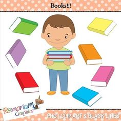 "Free ""Books"" Clipart. 18 PNG images, each is 300dpi in Black & White, colored with colored outlines and colored with black outlines"