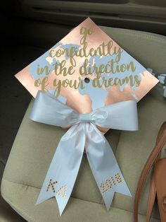 Go confidently in the direction of your dreams kappa delta bow rose gold graduation cap - - graduation outfit college Go confidently in the direction of your dreams kappa delta bow rose gold graduation cap Disney Graduation Cap, Funny Graduation Caps, Custom Graduation Caps, Graduation Cap Toppers, Graduation Cap Designs, Graduation Cap Decoration, Graduation Diy, Grad Cap, Graduation Pictures