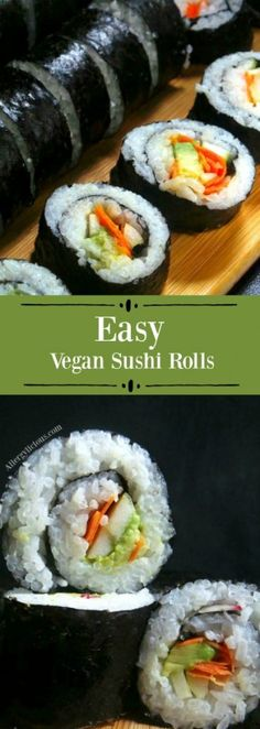 Lunchtime gets an upgrade with our easy to make, California style, Veggie Sushi Rolls. V,GF,NF Veggie Sushi Rolls, Sushi Roll Recipes, Delicious Vegan Recipes, Raw Food Recipes, Vegetarian Recipes, Free Recipes, Tasty, Healthy Recipes, Vegan Sushi