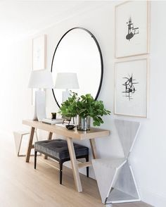 hallway mirror and table alluring round hallway table with best entry mirror ide. hallway mirror and table alluring round hallway table with best entry mirror ideas on front entrance ways hallway mirror table hallway table Design Hall, Flur Design, Entry Way Design, Home Design, Layout Design, Interior Design, Design Ideas, Design Inspiration, Lobby Design