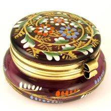 Antique Bohemian Enamel Amethyst Glass Hinged Patch Box