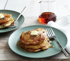 Blueberry Cornmeal Pancakes. Can I have these for breakfast please??
