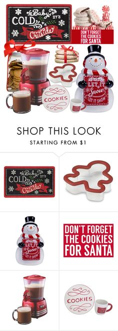 """""""Cookies For Santa"""" by mrs-rc ❤ liked on Polyvore featuring interior, interiors, interior design, home, home decor, interior decorating, Sixtrees, Nostalgia Electrics, holidays and hostessgifts"""