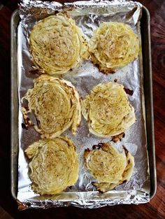 roasted cabbage - I sprayed olive oil on one side, I added different seasonings to try. Salt/Pepper - Garlic Salt/Pepper - Seasoning Salt.  After 1/2 way thru I flipped them over and sprayed more olive oil and added more seasoning.   Turned out Good.  I think crumbled bacon or carmelized onions on this would be awesome