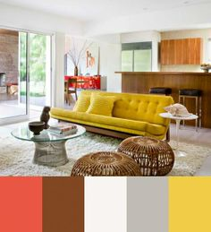 Brown, grey, and white as main colors with coral and yellow for accents