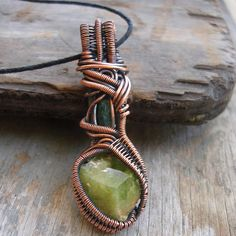Copper Wrapped // Raw Emerald // Sphene // Wire by Magickwrapper, $90.00