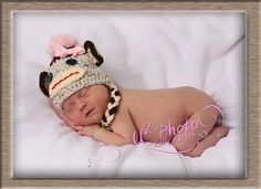 Sock Monkey Newborn Baby Hat Knit Baby Hat Baby by FashionTouch, $30.00