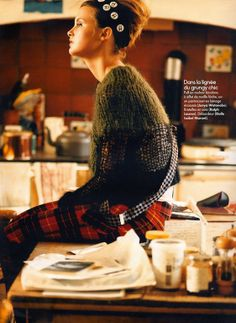 Trish Goff by Koto Bolofo for French Elle / sweater & pants by Junya /  bretelles by Ralph Lauren / débardeur by Etoile Isabel Marant