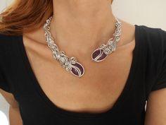 Open copper wire wrapped necklace Statement choker necklace Antique modern necklace Handmade unique boho necklace Purple collar necklace