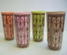 mid century vintage drinking glasses insulated plastic tumblers